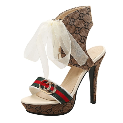 Women's Lace up Stiletto Heels Pattern Sandals STYLESIMO.com