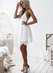 Women's Spaghetti Strap V Neck Lace Mini Dress