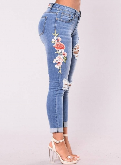Women's Slim High Waist Ripped Denim Pants