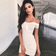 Women's off Shoulder Short Sleeve Ruched Bodycon Irregular Club Dress