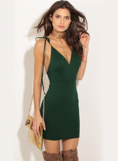Women's Spaghetti Strap V Neck Backless Solid Bodycon Club Mini Dress