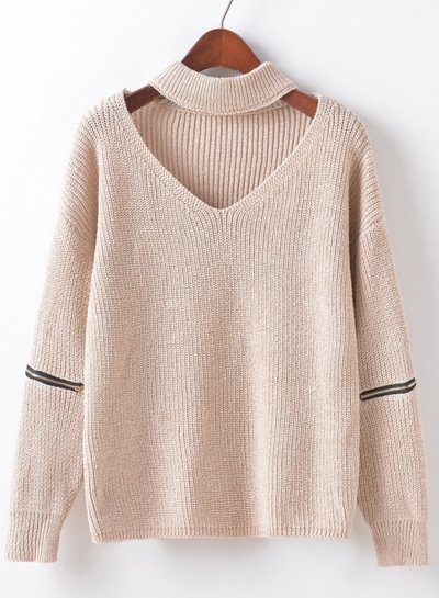 Women's Fashion Choker V Neck Elbow Zipper Long Sleeve Pullover Sweater