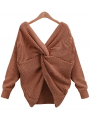 Women's Fashion Tie Deep V Neck Pullover Knitted Sweater