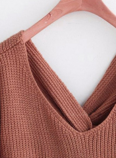 6cfe2b117e Women s Fashion Tie Deep V Neck Pullover Knitted Sweater - STYLESIMO.com