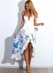 Women's Fashion Deep V Neck Floral Print Spaghetti Strap Irregular Dress