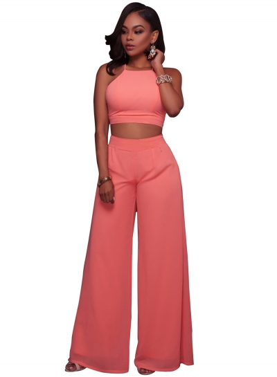 Women's Solid Color 2 Piece Crop Top Pants Set