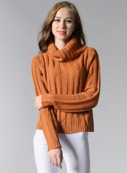 Women's Fashion High Neck Long Sleeve Solid Knitted Pullover Sweater