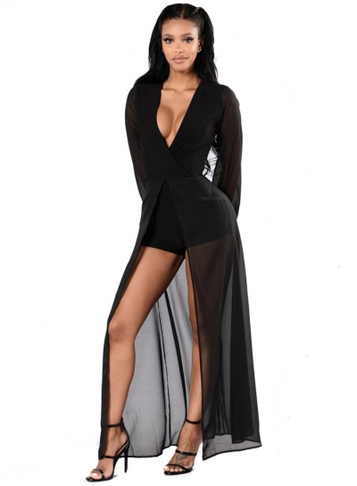 Womens Fashion Deep V Neck Long Sleeve Romper Maxi Dress