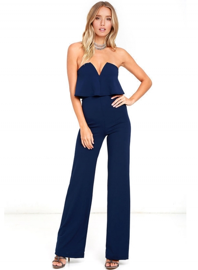 Women's Fashion Tube Backless High Waist Wide Leg Jumpsuit