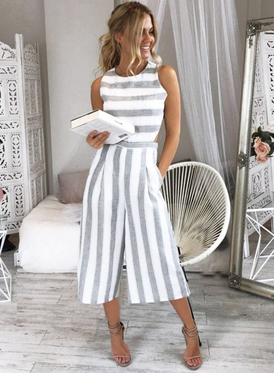 92dd6ae5fc8 Women s Fashion Sleeveless Striped Backless Strappy Wide Leg Jumpsuit -  STYLESIMO.com