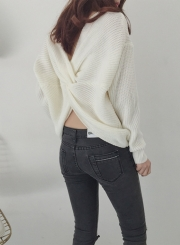Women's Solid Long Sleeve Back Knot Pullover Sweater