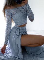 Women's Slash Neck Lace Crop Top Skirt Set