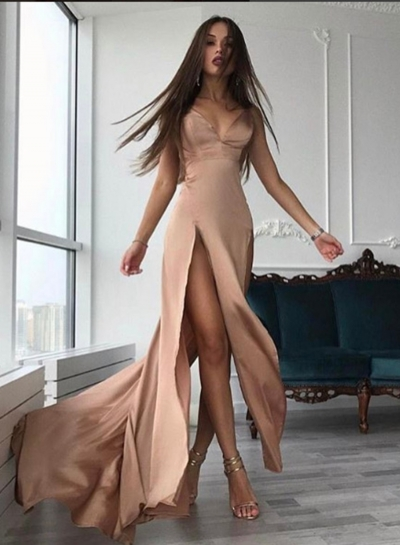 Women's Spaghetti Strap High Slit Slim Dress