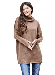 2d0fb4bea2c99a ... Women's Fashion Turtleneck Long Sleeve Loose Fit Pullover Sweater ...
