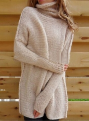 Women's Fashion Turtleneck Long Sleeve Loose Fit Pullover Sweater