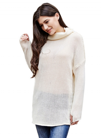 5737a6e654681e Women's Fashion Turtleneck Long Sleeve Loose Fit Pullover Sweater  stylesimo.com