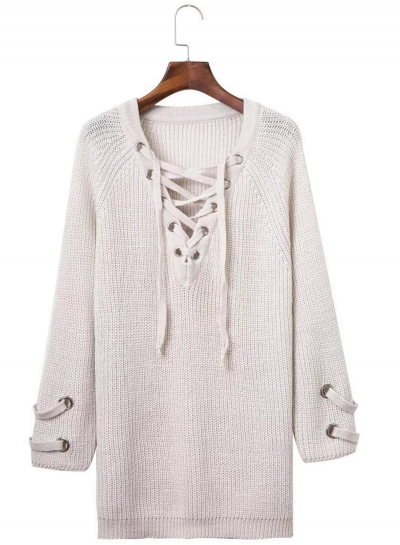 Women s Solid V Neck Lace-up Long Sleeve Pullover Sweater - STYLESIMO.com 8cfd257e2
