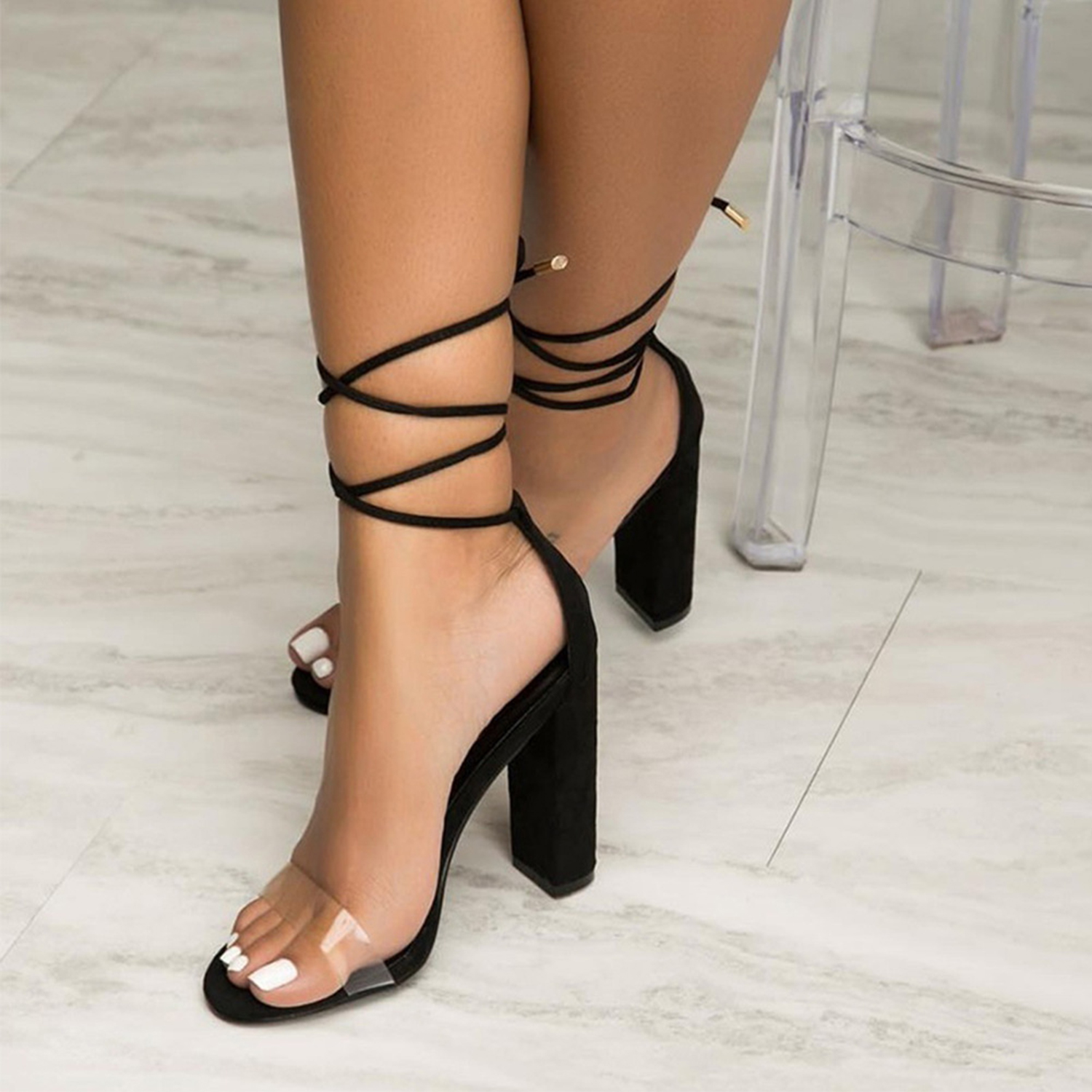 382d368be40 Women s Open Toe Lace up High Heels Sandals STYLESIMO.com. Loading zoom