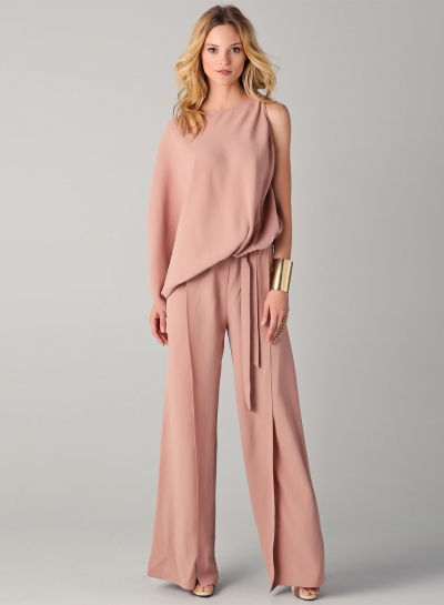Women's One Sleeve Loose Wide Leg Jumpsuit with Belt