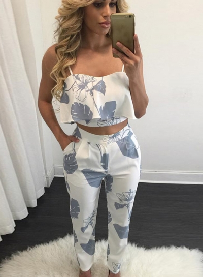 Women's Spaghetti Strap Print Blouse Pants Set