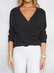 Women's Solid Cross V Neck Long Sleeve Sweater