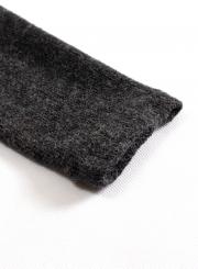Women's Solid Cross V Neck Long Sleeve Sweater