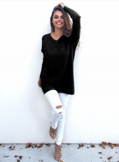 Women's Casual V Neck Long Sleeve Sweater STYLESIMO.com
