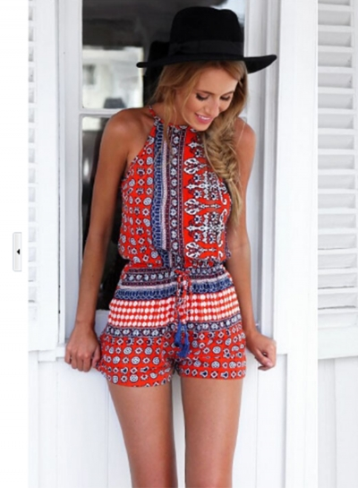 Women's Fashion Halter Sleeveless Backless Printed Romper