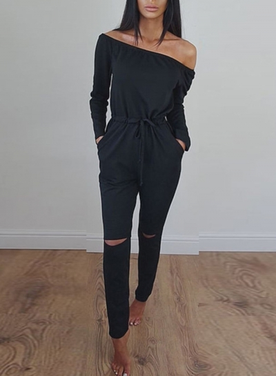 Women's Solid Slash Neck Long Sleeve Jumpsuit