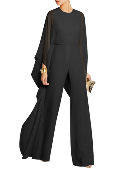 Women's Fashion Solid Batwing Sleeve Wide Leg Jumpsuit