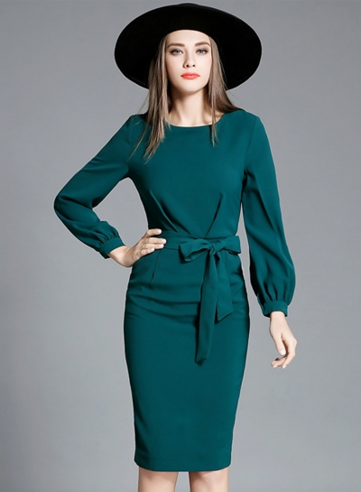 Solid Lantern Sleeve Party Dress with Belt