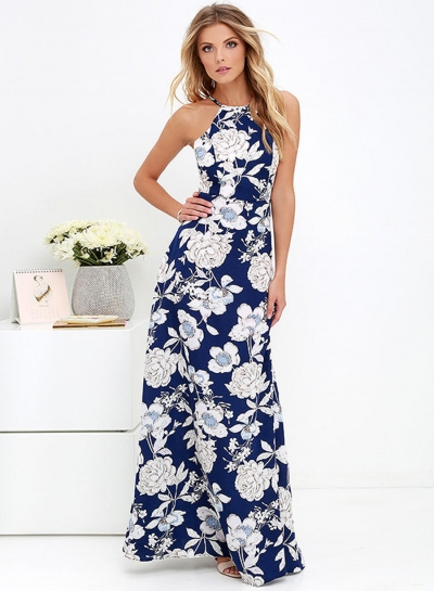 Women's Fashion Halter Sleeveless Backless Floral Print Maxi Dress