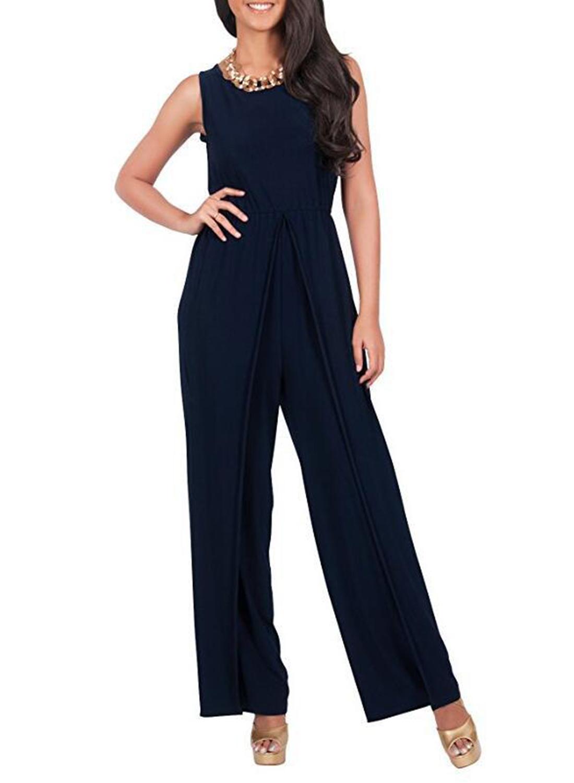 01da0a715f36 Loading zoom. Women s Fashion Sleeveless Solid Wide Leg Loose Slit Jumpsuit   Women s ...