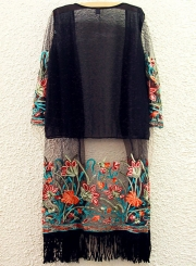 Women's Floral Embroidery Open front Long Chiffon Kimono with Tassel