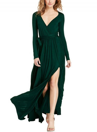 Women's Elegant V Neck Long Sleeve High Slit Maxi Dress with Belt
