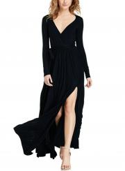 Women's Elegant V Neck Long Sleeve High Slit Maxi Dress with Belt