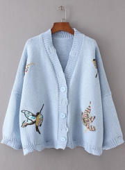 Women's Fashion V Neck Bird Embroidery Ripped Cardigan Sweater