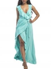 Women's Deep V Neck Flounce Panel Irregular Maxi Dress