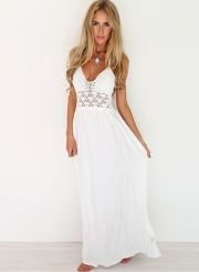 Women's Fashion Halter Hollow Out Lace Patchwork Maxi Dress