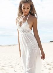 Women's Fashion Halter Hollow Out Lace Patchwork Maxi Dress