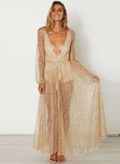 Women's Fashion Sequins Deep V Neck See Through Maxi Dress