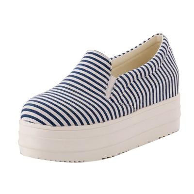 Women's Round Toe Flat Platform Striped Shoes