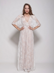 Women's V Neck Half Sleeve Sheer Lace Maxi Dress