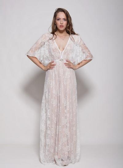Women's V Neck Half Sleeve Sheer Lace Maxi Dress
