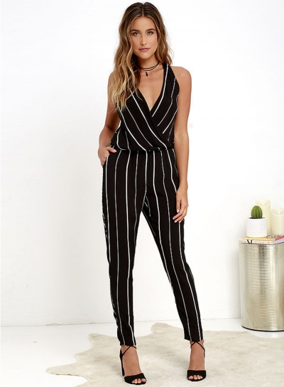 Women's V Neck Off Shoulder Striped Jumpsuit