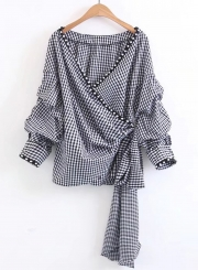 Women's Fashion Plaid Wrap V Neck Long Sleeve Pearls Tie Waist Blouse
