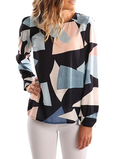 Women's Long Sleeve Patchwork Irregular Blouse