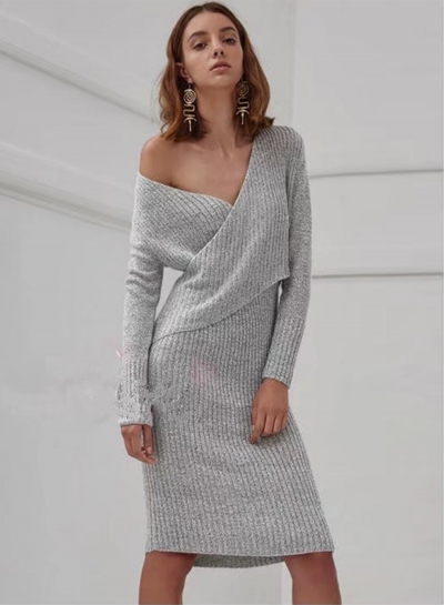 Women's Fashion V Neck Long Sleeve Knit Bodycon Sweater Dress