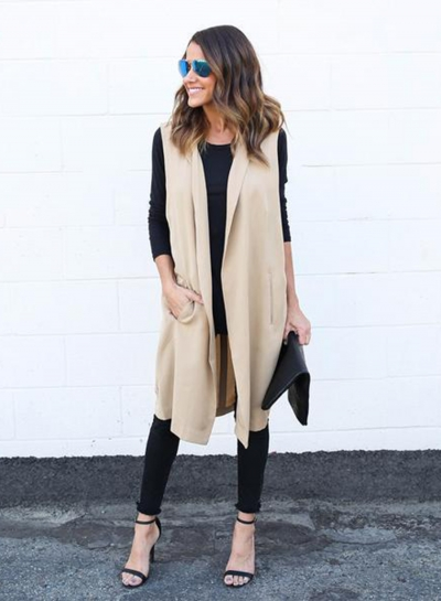 Women's Fashion Solid Open front Long Vest Outwear