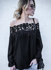 Women's Fashion off Shoulder Lace Long Sleeve Loose Blouse